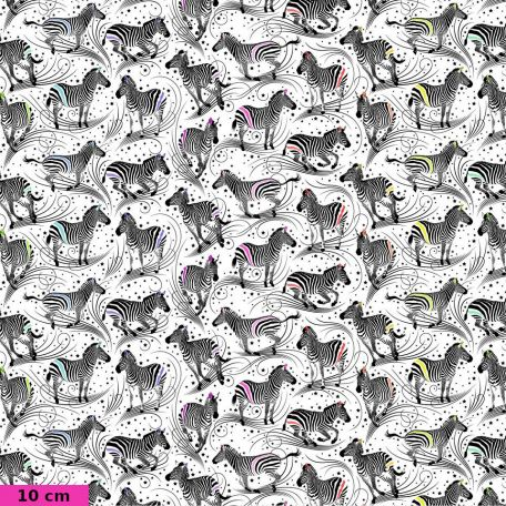 Tissu patchwork Tula Pink zèbres fond blanc TP156 - Linework