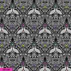 Tissu patchwork Tula Pink paons fond noir TP152 - Linework