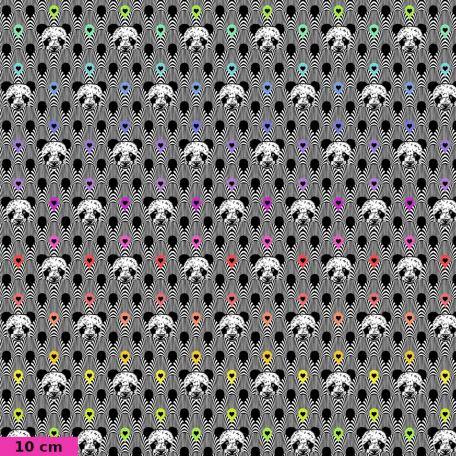 Tissu patchwork Tula Pink pandas et coeurs TP153 - Linework