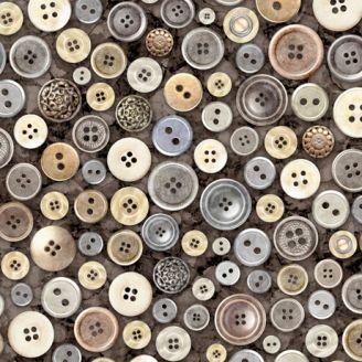 Tissu patchwork boutons de couture fond charbon - Couture