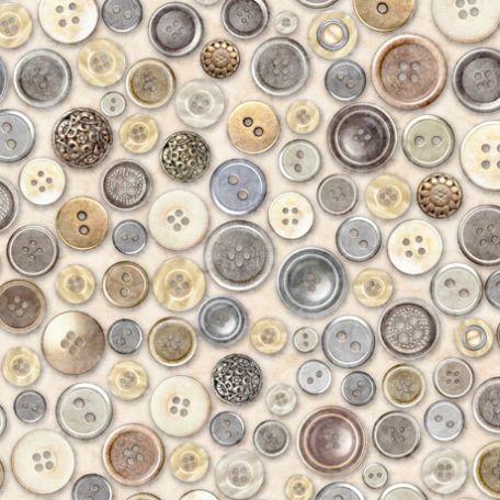 Tissu patchwork boutons de couture fond crème - Couture