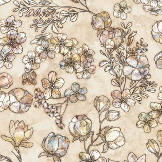 Tissu patchwork fleurs taupes fond crème - Couture