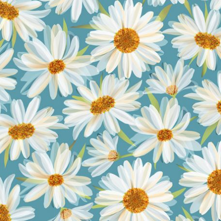 Tissu patchwork fleurs blanches fond bleu - Daisy Meadow