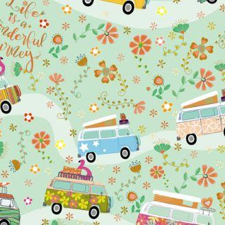 Tissu patchwork combi voyage années 70 - Road trip