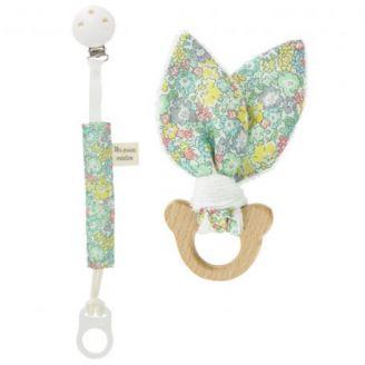Kit naissance Ours (Hochet et attache-tétine) en Liberty Michèle - Kit de couture