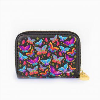 Porte-cartes Laurel Burch - Papillons multicolores avec fermeture éclair