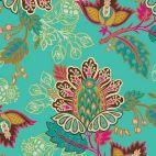 Tissu patchwork fleurs d'orient fond tuquoise - Fusion Marrakesh