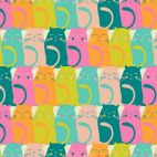 Tissu patchwork chats multicolores - Oh, Meoh !