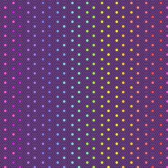 Tissu patchwork Tula Pink hexagones multicolores fond violet - True colors