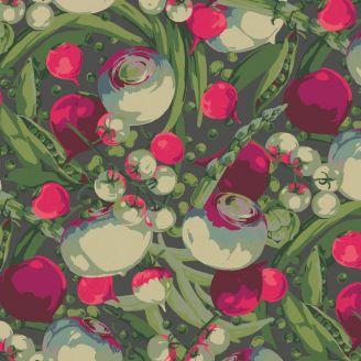 Tissu patchwork jardinière de légumes fond foncé - Veggies de Martha Negley