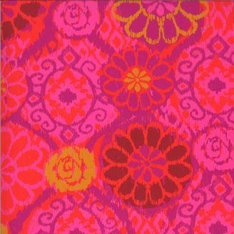 Tissu patchwork imprimé grandes fleurs fuchsia - Kasada