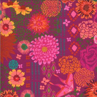 Tissu patchwork imprimé fleurs et papillons violine - Kasada