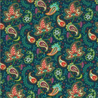 Tissu patchwork imprimé cachemire tons verts - Kasada