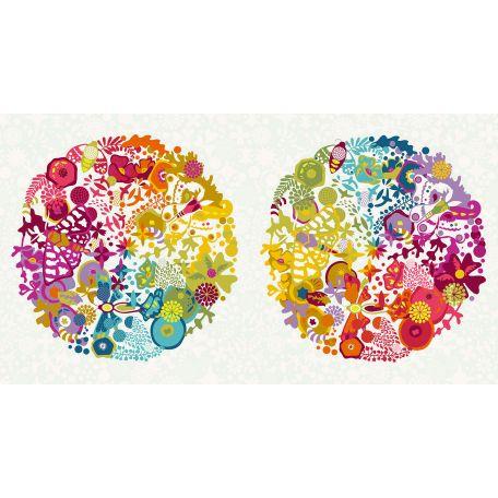 Tissu patchwork sphères Ex-Libris multico fond écru - Alison Glass (30 cm x 110 cm)