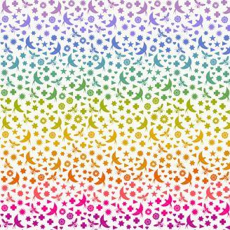 Tissu patchwork oiseaux et abeilles multicolores fond blanc d'Alison Glass