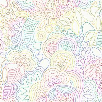 Tissu patchwork broderie arc-en-ciel fond blanc d'Alison Glass