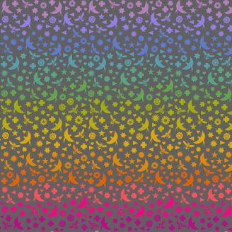 Tissu patchwork oiseaux et abeilles multicolores fond gris d'Alison Glass