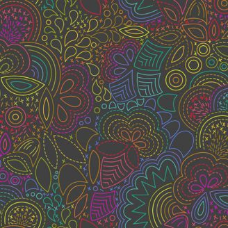 Tissu patchwork broderie arc-en-ciel fond gris - Art Theory d'Alison Glass