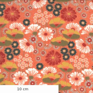 Tissu patchwork imprimé jardin fleuri fond corail - Cider