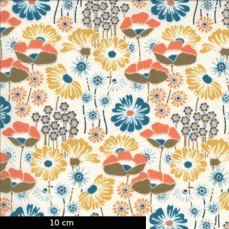 Tissu patchwork imprimé jardin fleuri fond crème - Cider