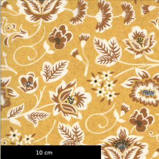 Tissu patchwork imprimé motifs fleurs fond jaune moutarde - Cider