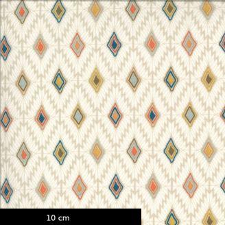 Tissu patchwork imprimé motifs losanges fond beige - Cider