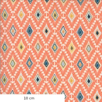 Tissu patchwork imprimé motifs losanges fond corail - Cider