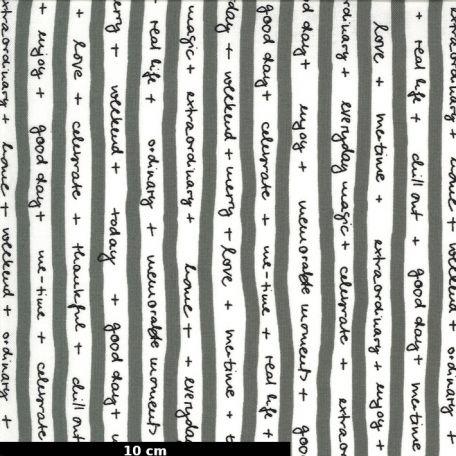 Tissu patchwork citations en rayures grises en blanches - Quotation de Zen Chic