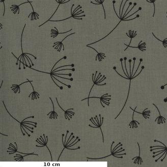Tissu patchwork pissenlits noirs fond gris - Quotation de Zen Chic