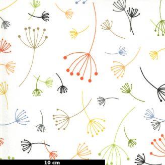 Tissu patchwork pissenlits multico fond écru - Quotation de Zen Chic