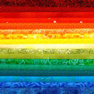 17 coupons de tissus patchwork imprimés Météo
