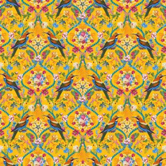 Tissu patchwork Odile Bailloeul les joyaux de la Reine (oiseaux) fond jaune - Jardin de la reine