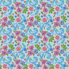 Tissu patchwork Odile Bailloeul voyage exotique fond bleu ciel - Jardin de la reine