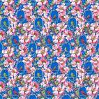 Tissu patchwork Odile Bailloeul oiseaux et fleurs sur fond bleu roi - Jardin de la reine