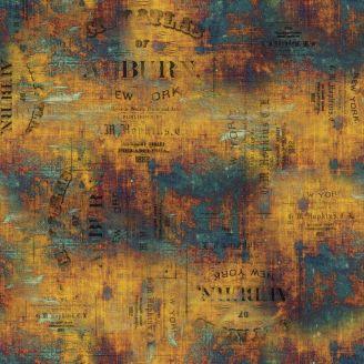 Tissu patchwork étiquettes ocre patiné - Abandoned de Tim Holtz