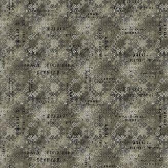 Tissu patchwork motif géométrique gris - Abandoned de Tim Holtz