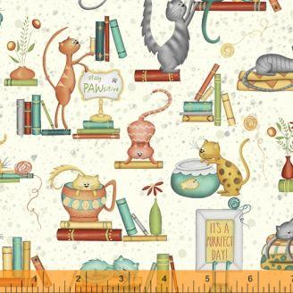 Tissu patchwork chats et livres fond beige - Purrfect Day