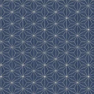 Tissu patchwork rosaces fond bleu indigo - Norma Rose