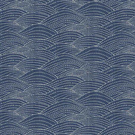 Tissu patchwork vagues en surpiqûres bleu indigo - Sashiko