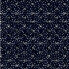 Tissu patchwork rosaces fond noir - Sashiko
