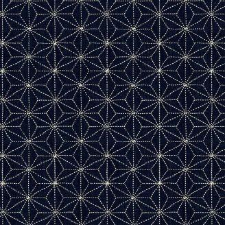 Tissu patchwork rosaces fond bleu marine - Sashiko
