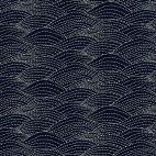 Tissu patchwork vagues en surpiqûres noires - Sashiko