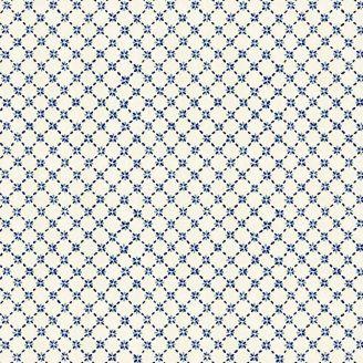 Tissu patchwork quadrillage fleuri bleu fond écru - Sashiko
