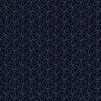 Tissu patchwork forme elliptique fond bleu marine - Sashiko