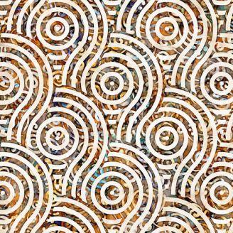 Tissu patchwork tourbillons ocre et écru - Paradox