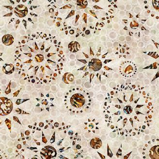 Tissu patchwork rosaces ocres fond écru - Paradox