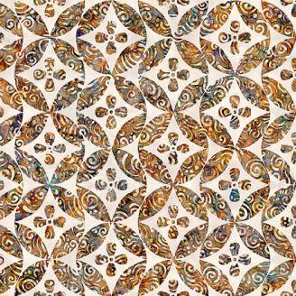 Tissu patchwork façon carrelage géométrique ocre et écru - Paradox