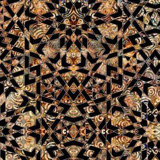 Tissu patchwork mosaïque ocre et noir - Paradox