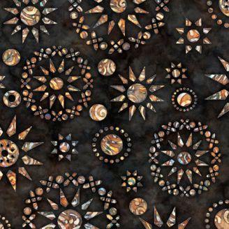 Tissu patchwork rosaces ocres fond noir - Paradox