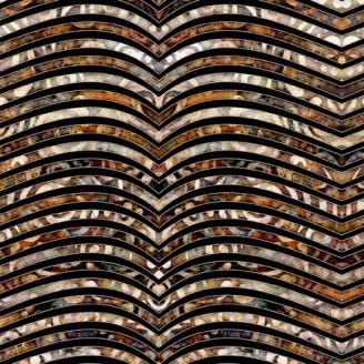 Tissu patchwork vaguelettes ocre et noir - Paradox